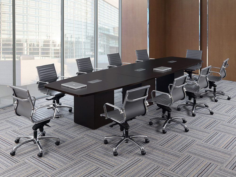 14' Boat Shaped Conference Table with Cube Base Office Furniture