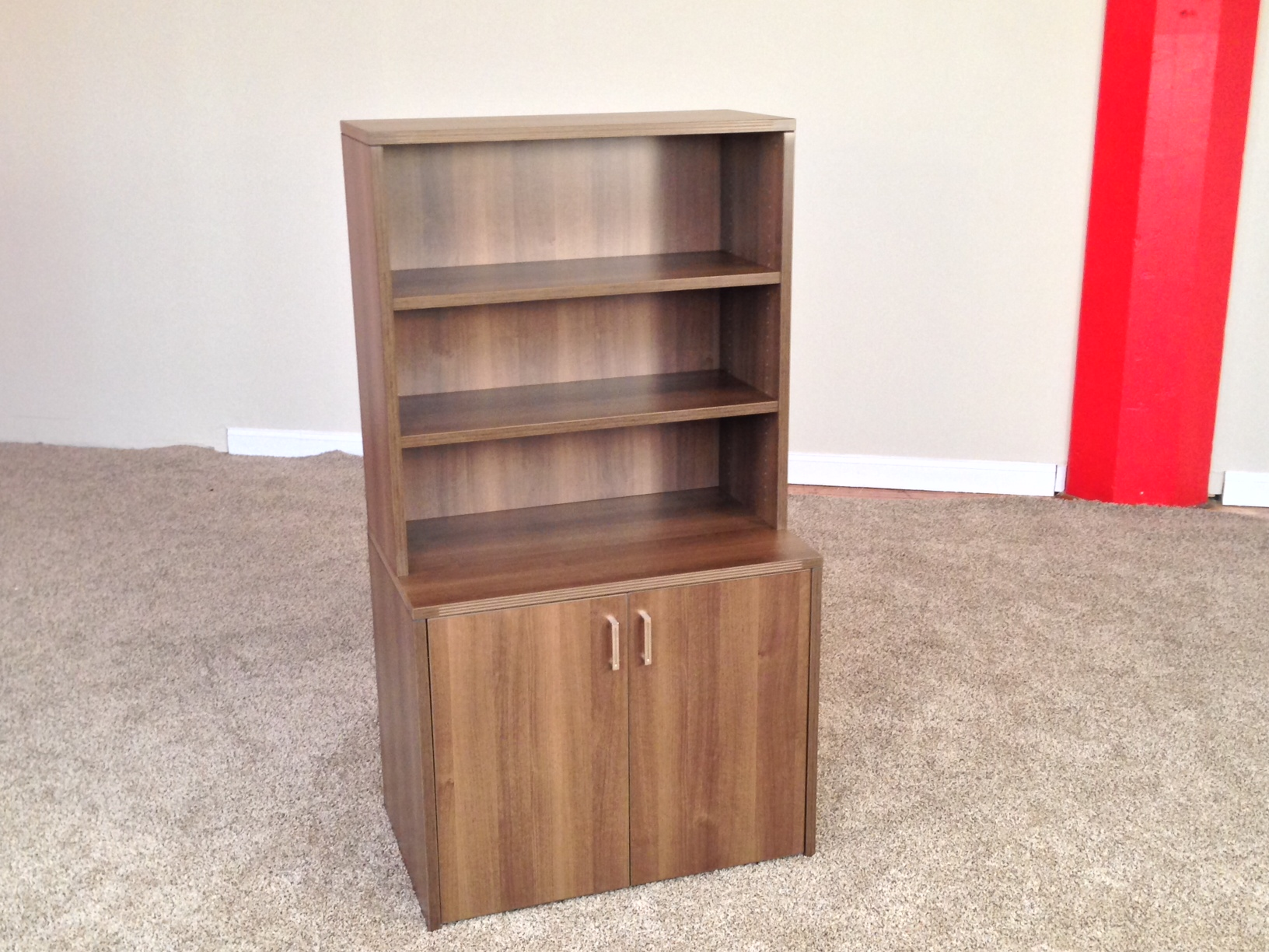 2-Door Storage Credenza with Open Hutch Office Storage