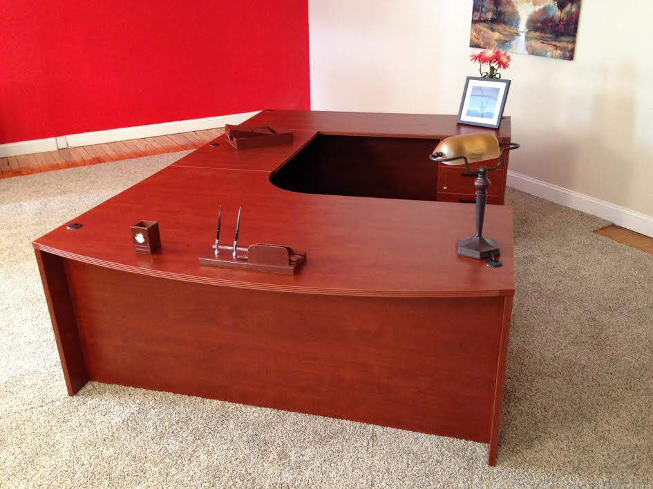 Boston, MA Bowfront U-shaped Desk #1 Bullet Front U-Shaped Office Desks