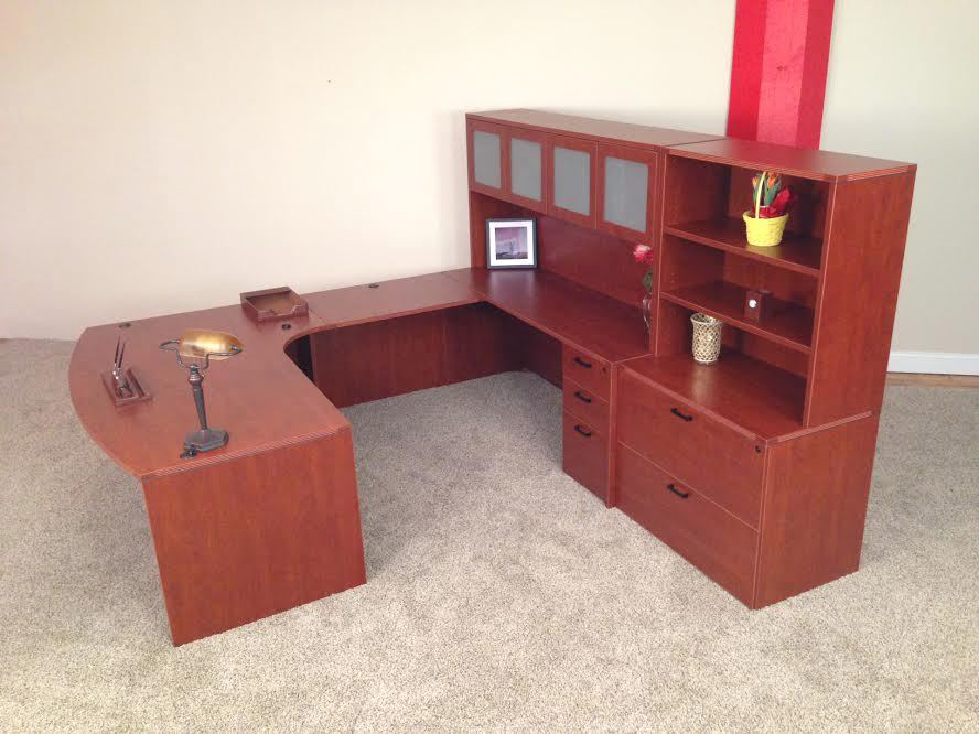 Wilmington, MA Bowfront U-shaped Desk #4 Bullet Front U-Shaped Office Desks