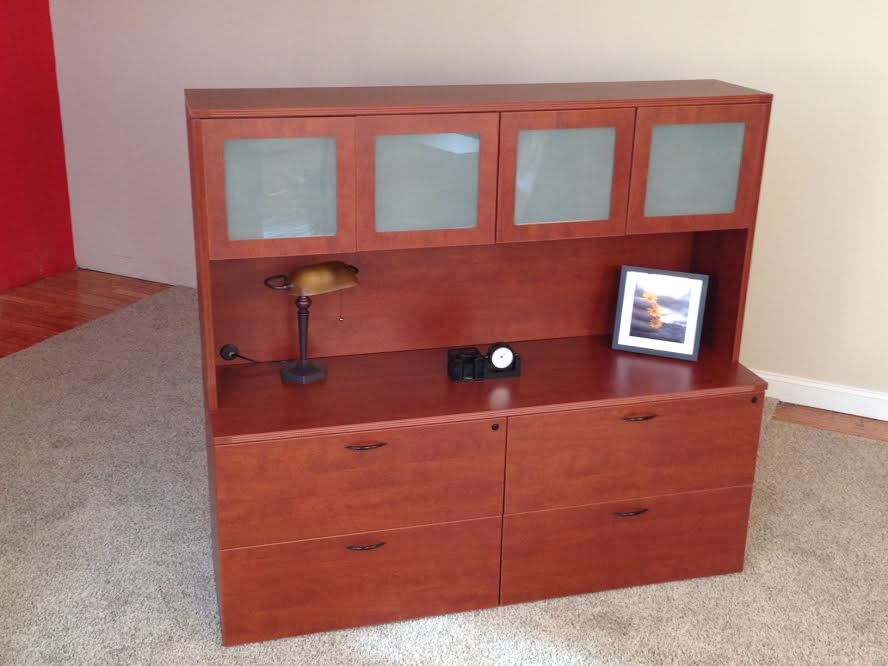 Lateral File Credenzas with 4-Door Hutch Office Storage