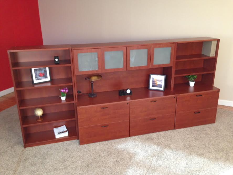Lateral File Credenzas with Closed Hutch, Bookshelf Office Storage