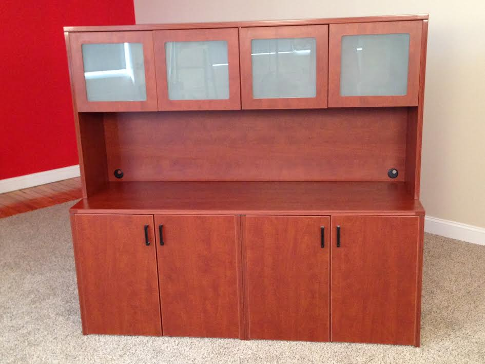 Storage Credenzas with 4-Door Hutch Office Storage