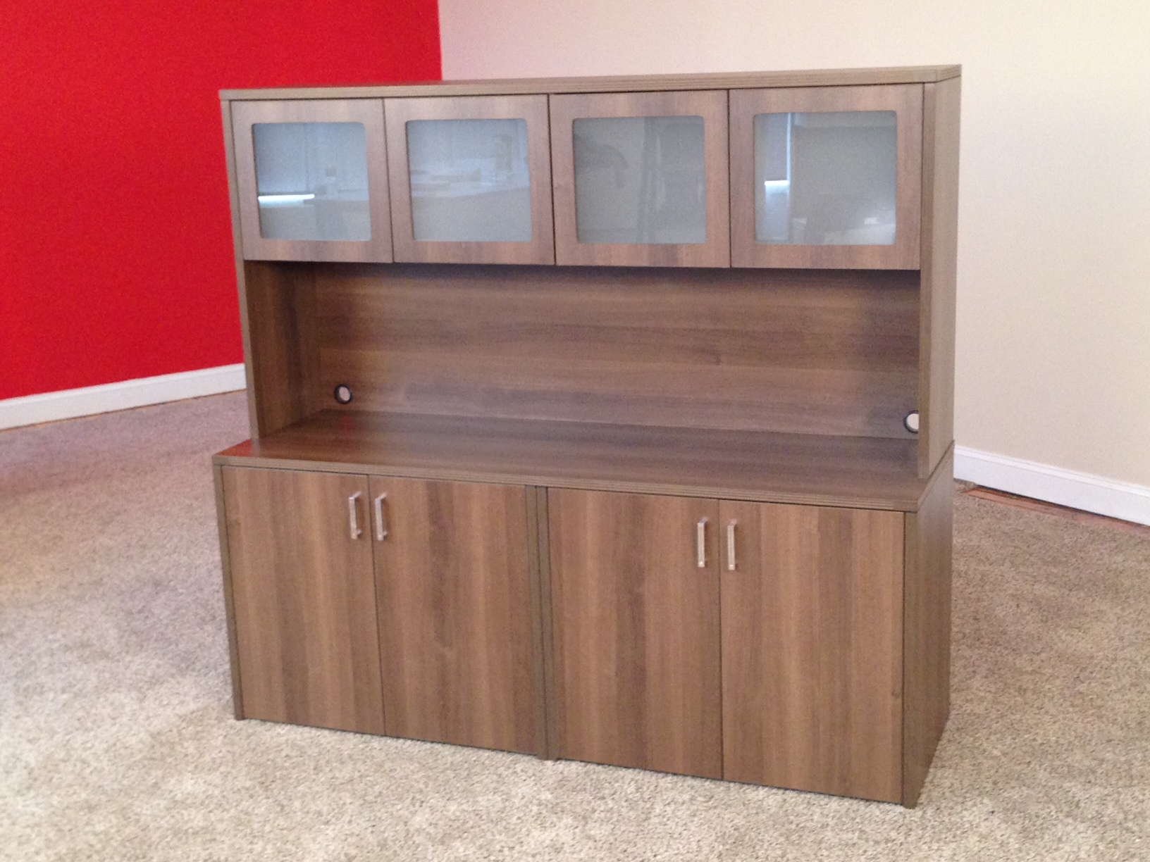 Affordable Office Storage Credenzas With 4 Door Hutch Granite State Office Furniture Manchester Nh