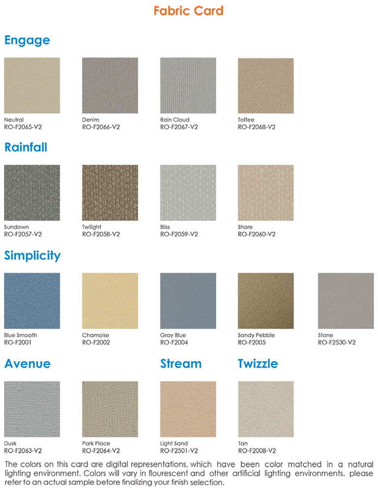 fabric color swatches Affordable Office Cubicles