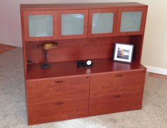 Lateral File Credenzas with 4-Door Hutch