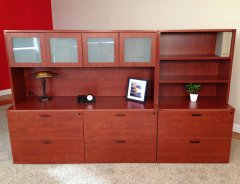 "Triple Lateral File Credenza with 71"" Hutch and Upper Bookshelf"