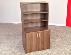 2-Door Storage Credenza with Open Hutch