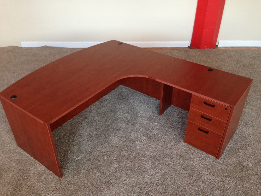 Bowfront L-shaped Desk #1 Bowfront L-Shaped Office Desks Manchester, NH