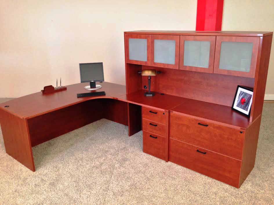 Bowfront L-shaped Desk #5 Bowfront L-Shaped Office Desks Manchester, NH