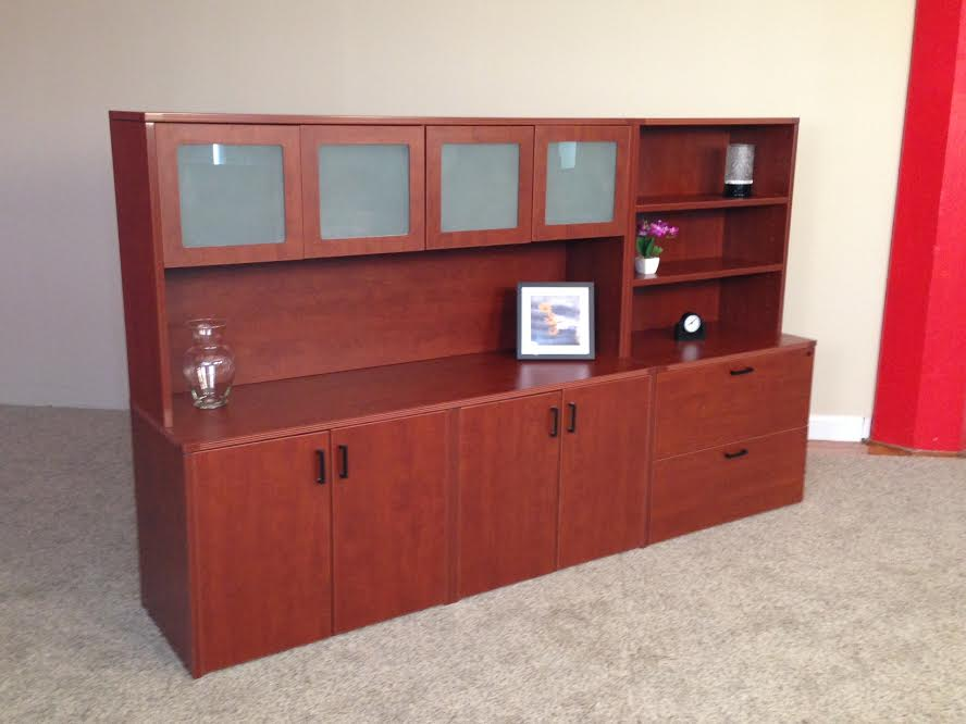 Storage Credenza with 4-Door Hutch, Lateral File & Open Hutch Office Storage